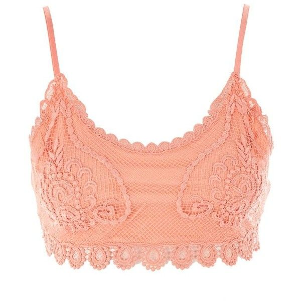 Topshop Petite Crochet Ribbed Bralet (€21) ❤ liked on Polyvore featuring tops, coral, red crochet top, bralette crop top, print crop tops, summer crop tops and petite tops