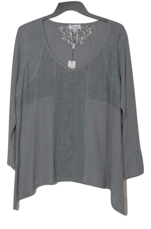 199f2da3b Symmetry Women's Plus Size 1X Lace Trim Knit Top | Women's Tops ...
