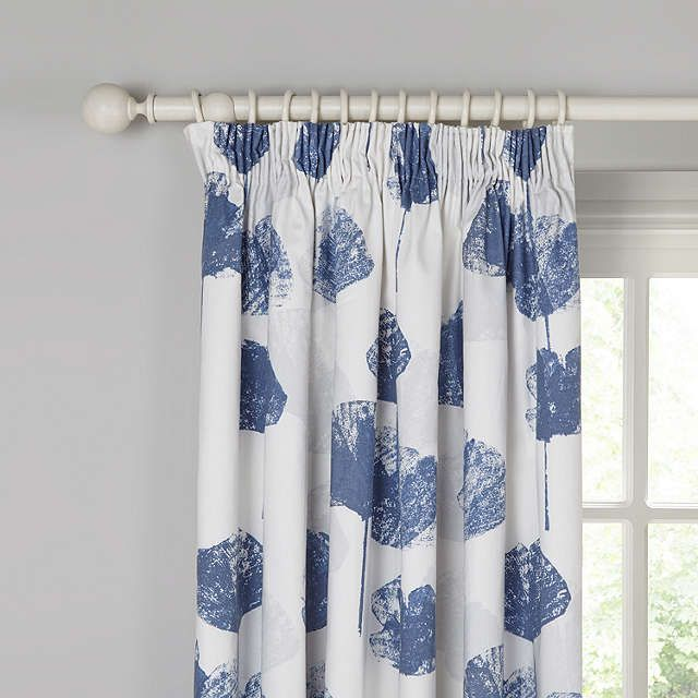 Buy Blue John Lewis Waterlily Blackout Lined Pencil Pleat Curtains X Drop From Our Ready Made Voiles Range At