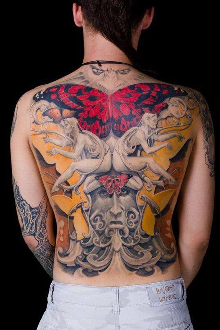 Incredible detail and just amazing full back tattoo by for Full back tattoos women