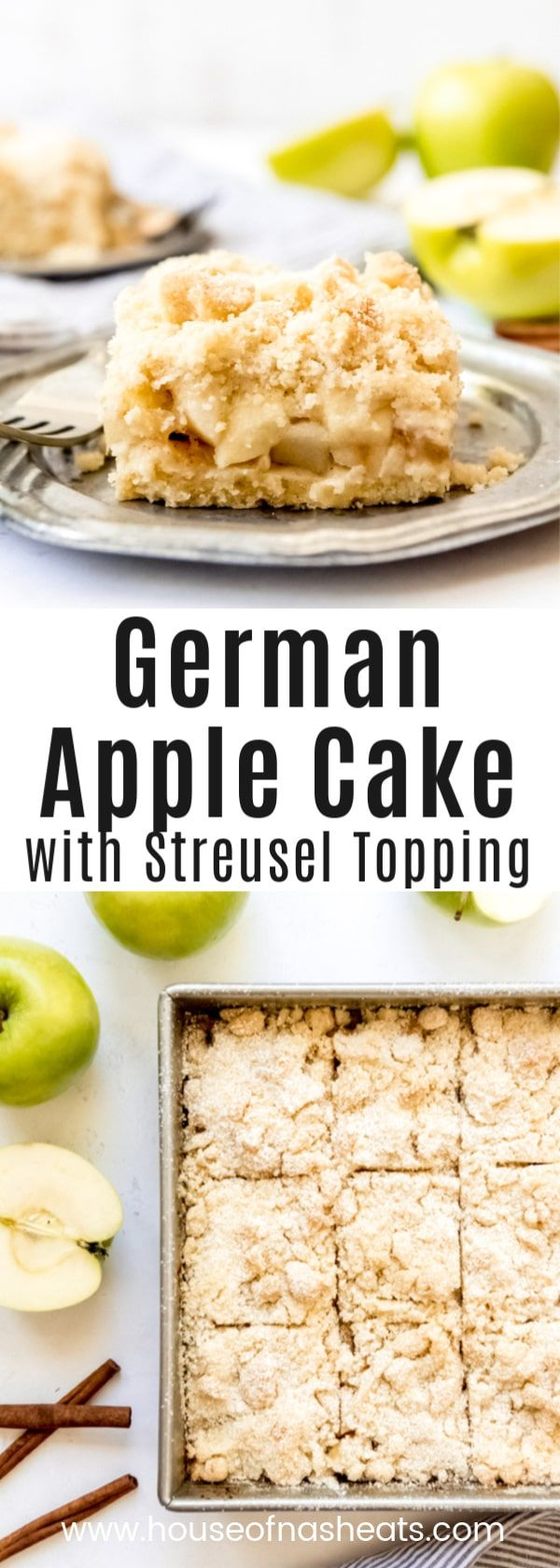 German Apple Cake with Streusel Topping [Apfelkuchen mit Streusel] - House of Nash Eats