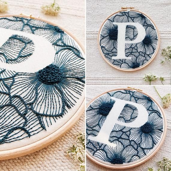 "Floral Letter ""P""  Hand Embroidery Pattern / Digital PDF Download / Instant Download Floral Hand Emb"