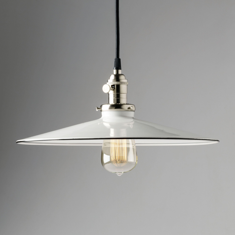 14 White Pendant Light Fixture Flat Metal Porcelain Enamel