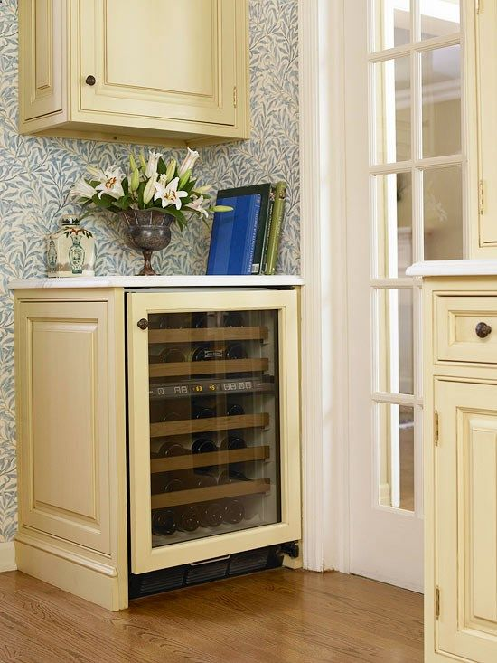 Wine Fridge Adding A Wine Cooler And Small Countertop Upper Cabinet For Bar At Back Of Kitchen Space Saving Kitchen Wine Fridge Kitchen Appliances