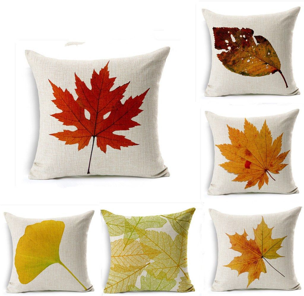 Maple Leaf Cotton Linen Throw Pillow Case Sofa Car Cushion Cover Home Decor 18 Ebay Home Garden Linen Throw Pillow Pillows Embroidered Cushions