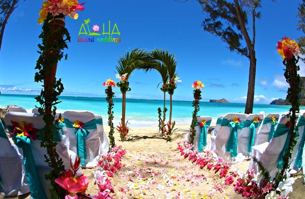 Palm arch way in hawaii with tropical bright beautiful hawaiian beautiful hawaiian beach wedding this is what wed like to do junglespirit Images