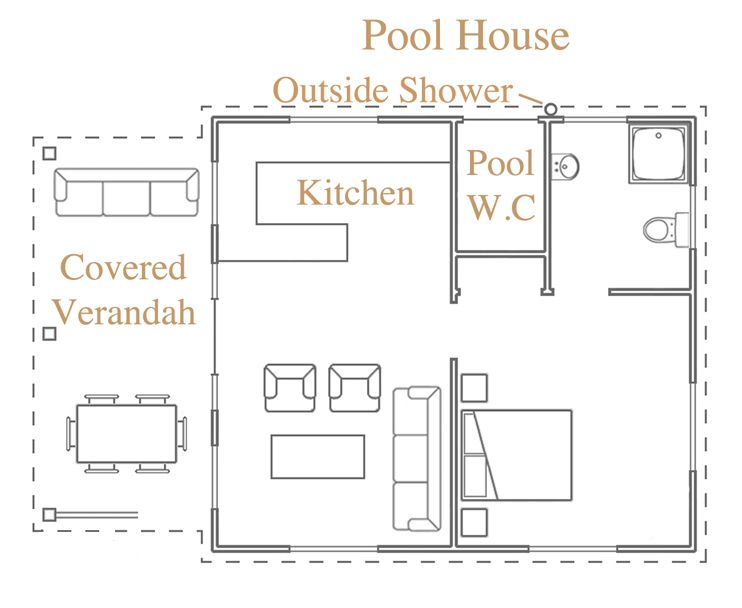 Like this pool house plan out house pinterest pool for Pool house plans with bathroom