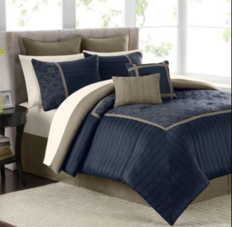 Mens bedroom beiges navy blue dark brown small bed | Khaki ...