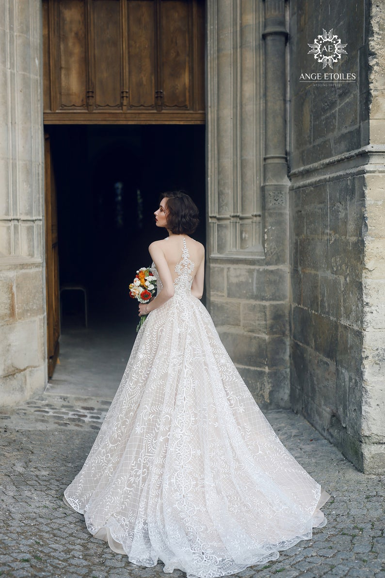 Princess royal lace wedding dress MARSEL with a long train by Ange Etoiles • Princess wedding dress • Wedding dress with long train