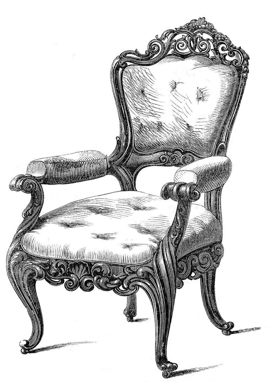 Antique chair silhouette - Antique Victorian Furniture Clip Art