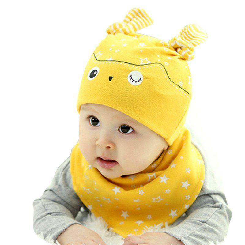 Baby Kids Hat Cap+Newborn Saliva Lovely Infant Towel Triangle Head Scarf Sets