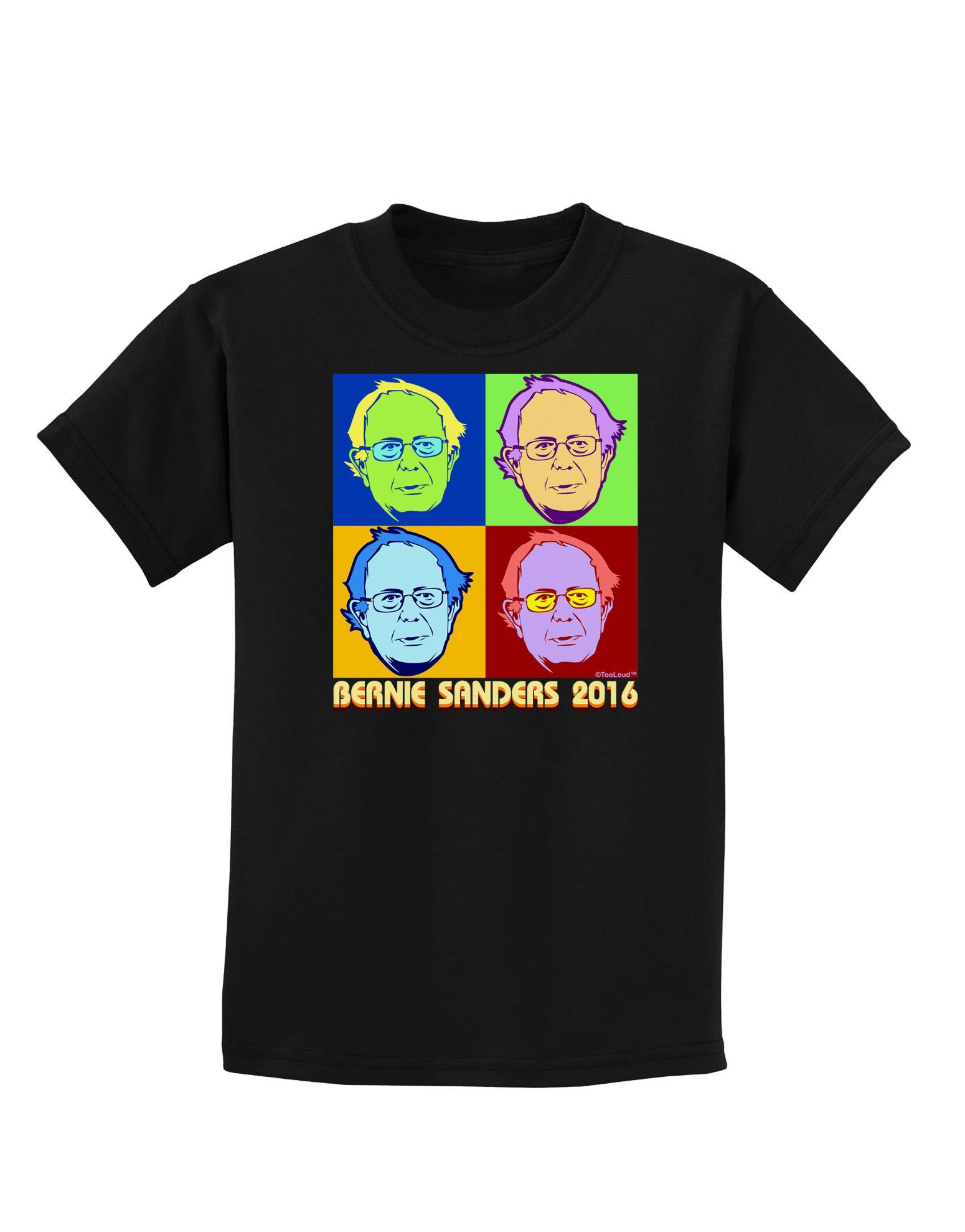 TooLoud Pop Art Bernie Sanders Childrens Dark T-Shirt