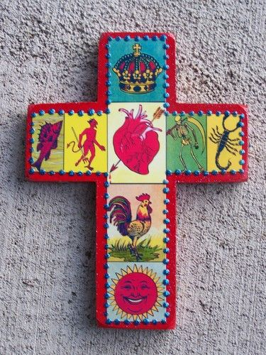 Cross Mexican Loteria Images With Sequins And Glitter Red Ebay