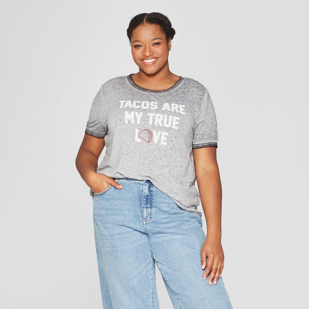 4660bc87 Women's Plus Size Short Sleeve T-Shirt - Zoe+Liv (Juniors') Gray 2X ...