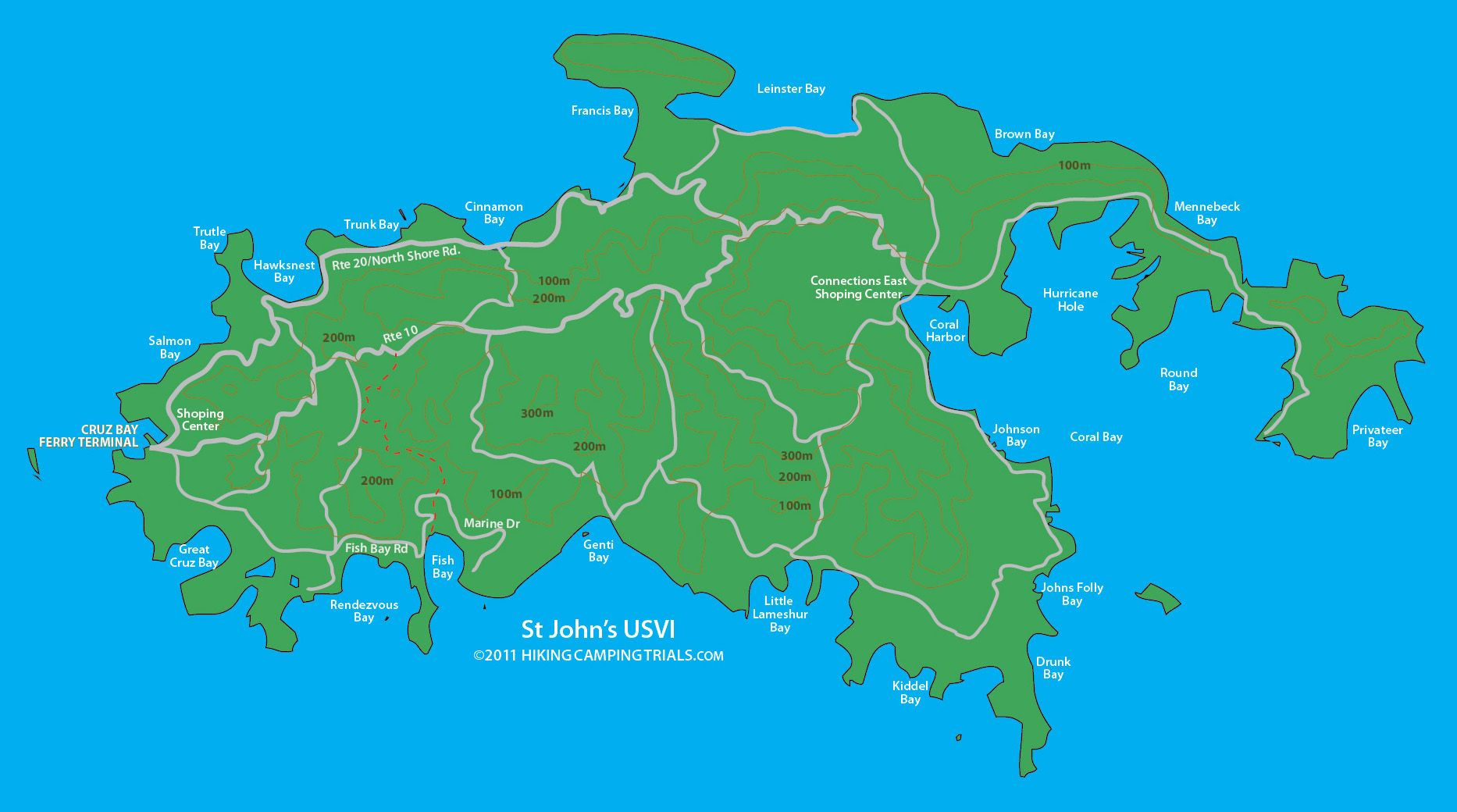 st johns map usvi us virgin islandsst