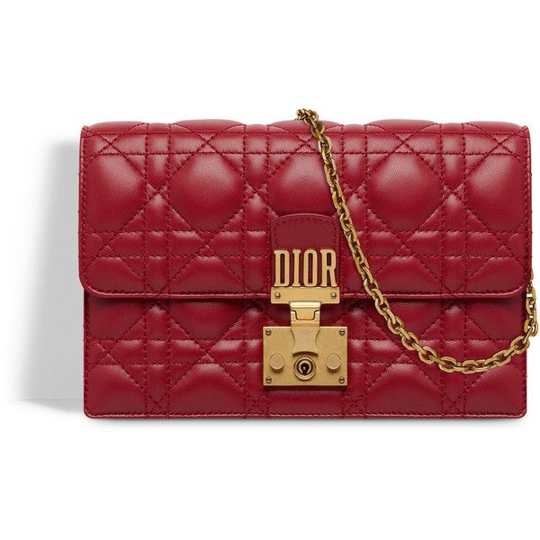 b5d3236198d Dioraddict wallet on chain clutch in red cannage lambskin - Dior ❤ liked on  Polyvore featuring bags