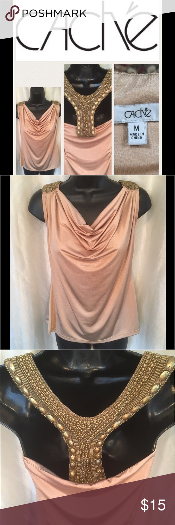 Caché💍 Tan Shimmer Heavy Intricate Beaded Top Caché Tan Shimmer HEAVY beaded intricate top. SIZE M - I'm always open for a good offer, don't hesitate to ask if it's reasonable. My prices can change daily so grab your favorite items while they last. Please if you are unsure about the size, I will measure and get back to you ASAP. I would like to avoid low ratings because of potential sizing issues, when I will gladly measure for you 😀 If you have any questions let me know. Happy Shopping 😊…