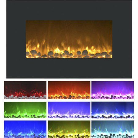36 Inch Electric Fireplace Wall Mount And Floor Stand Included Color Changing Flame Wall Mount Electric Fireplace Electric Fireplace Electric Fireplace Wall