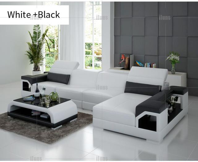 Ifuns Brillancy Orange Genuine Leather Corner Sofas Modern Design L Shape Recliner Floor Sofa Set Living