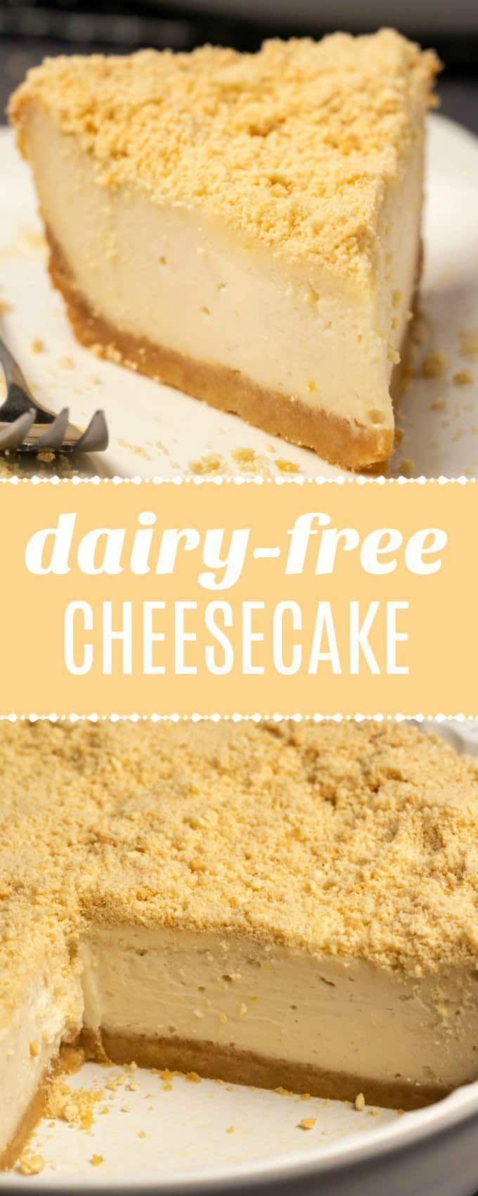 This baked dairy free cheesecake is just as good or better than any baked cheese #dairyfreesmoothie