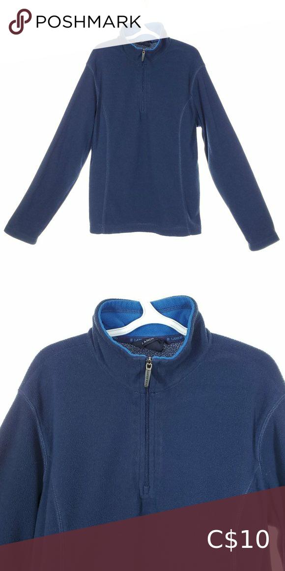 5/20🌈 LANDS' END Blue Fleece Sweater Size S 🌈5/20🌈 LANDS