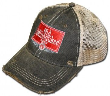 87777390 RETRO Style Old Milwaukee Beer Hat. Ripped, torn and tattered. Official  merchandise