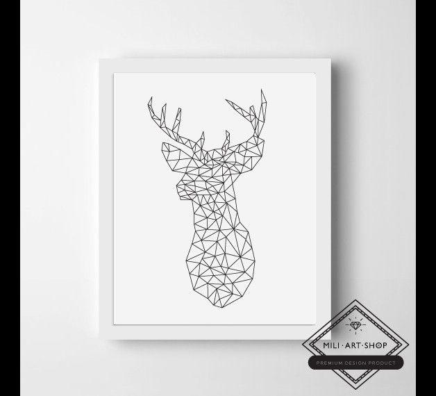 Plakat Geometryczny Jeleń 21x30cm Mój Pokój Pinterest