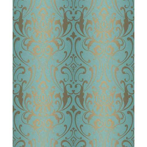 Striped damask wallpaper green