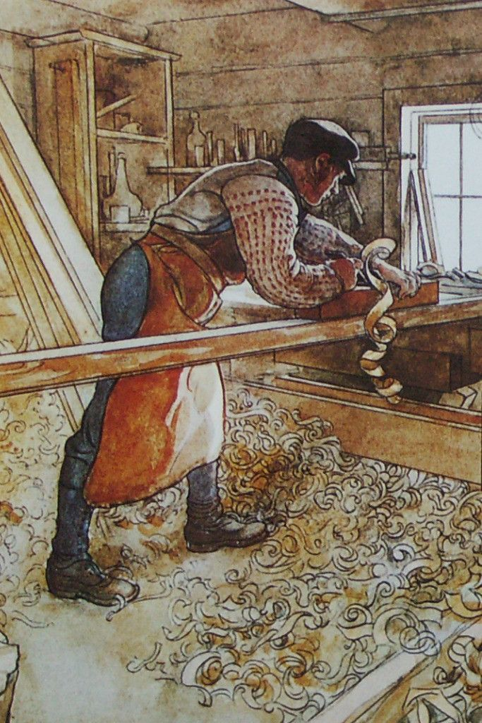 In the Carpenter Shop   by  Carl Larsson   Giclee Canvas Print Repro
