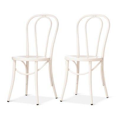 Awe Inspiring Emery Metal Bistro Chair Off White Set Of 2 Threshold Dailytribune Chair Design For Home Dailytribuneorg