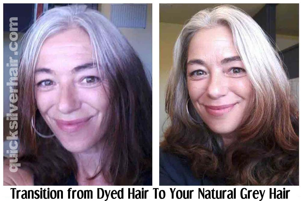 How Do You Transition From Dyed Hair To Your Natural Grey Hair Quicksilverhair Transition To Gray Hair Natural Gray Hair Gray Hair Growing Out