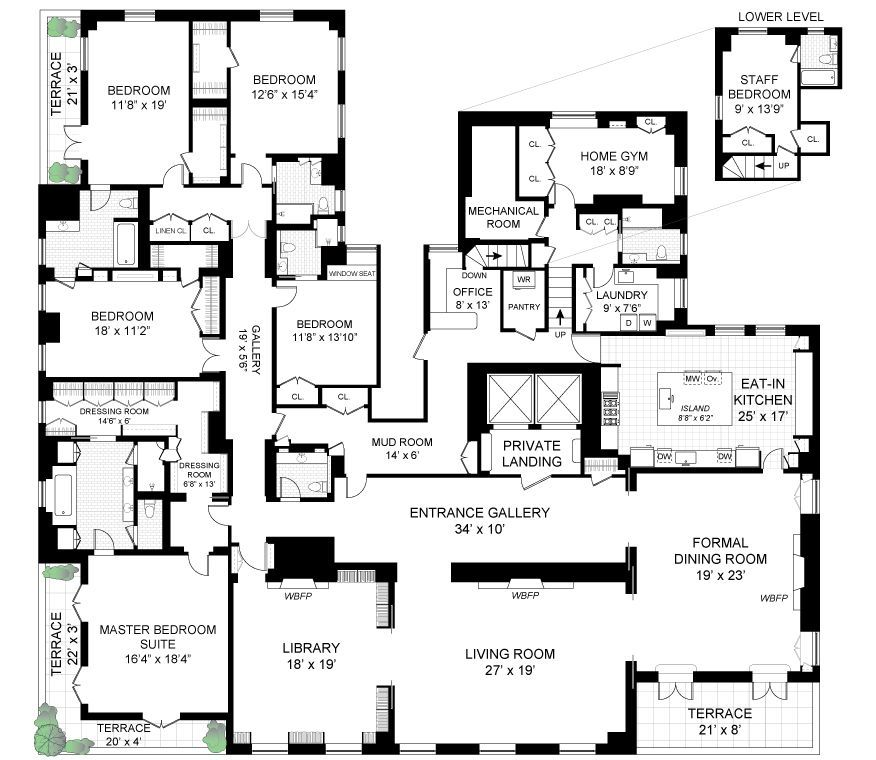 778 Park Ave 14 New York Ny 10021 6 Bed 7 Bath Coop Mls 5766850 19 Photos Penthouse Apartment Floor Plan Luxury Floor Plans Apartment Floor Plans