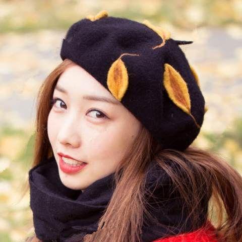 autumn leaves beret hat 100/% beret winter beret hat yellow leaves beret hat fall leaves beret hat black beret