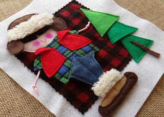 Cute little lumberjack in the #quiet book PDF pattern KOOL KIDS is ready to choose the perfect Christmas tree. He's one of 8 kids dressed for holiday activities with removable clothing items for dressing and switching around. LindyJ Design at Etsy.