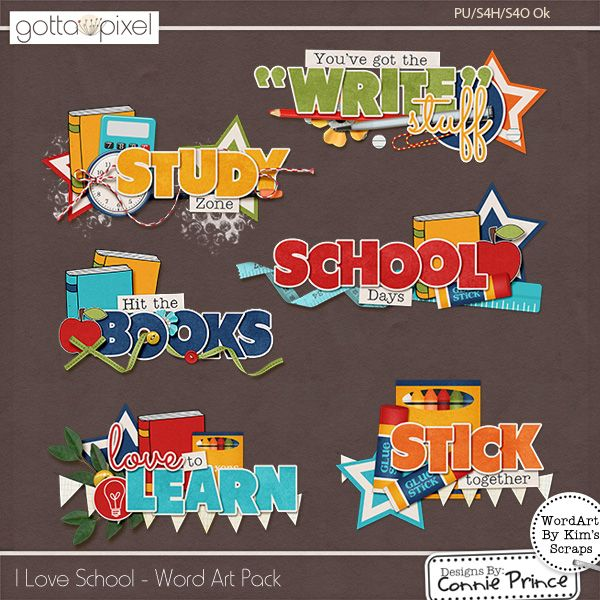 SCHOOL DAYS TITLE EMBELLISHMENT card toppers scrapbooking