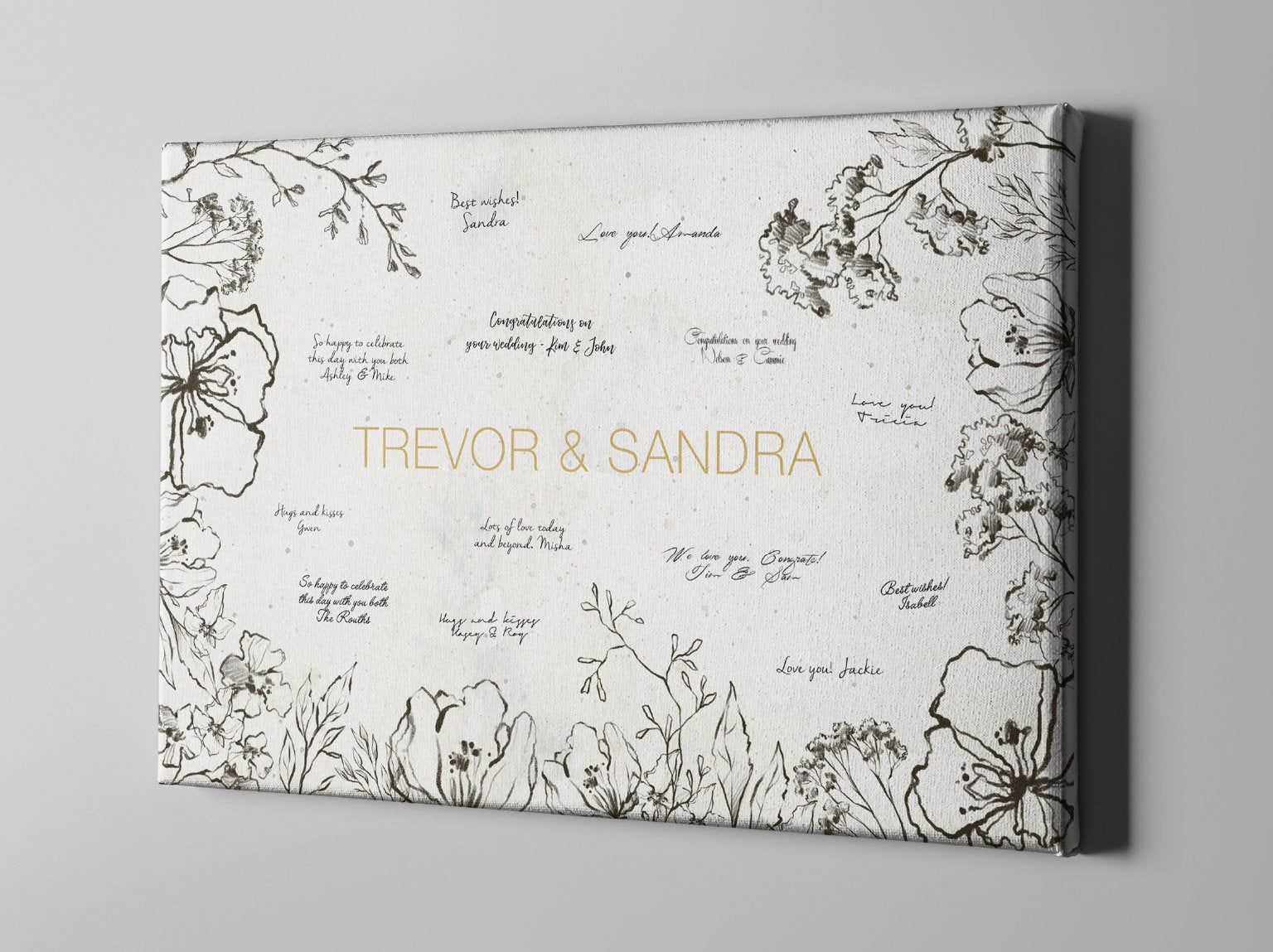 Canvas Guest Book Simple Leaves Wedding Signature Guestbook
