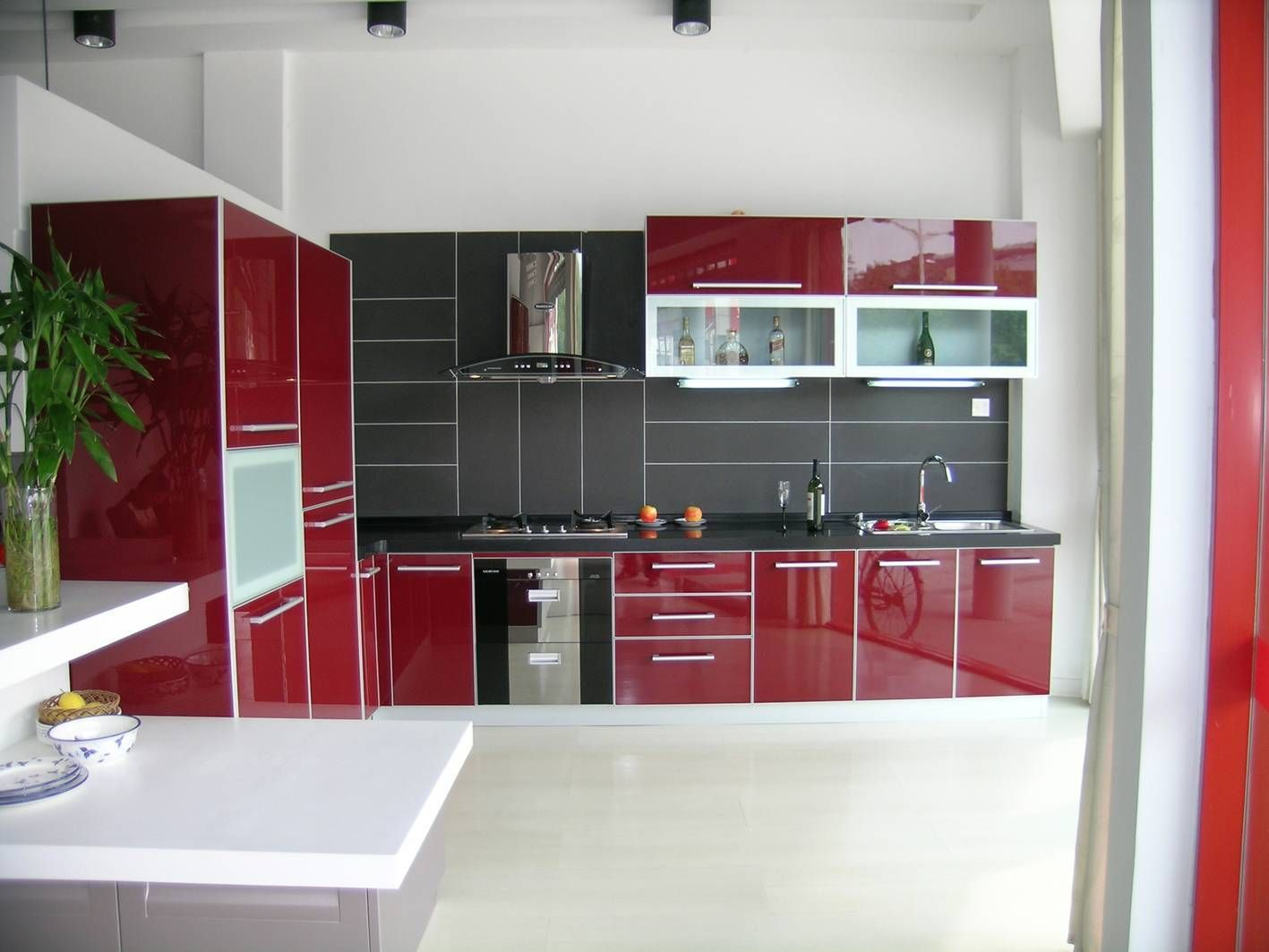 Home Design, Lavish Red Kitchen Cabinet Feats With L