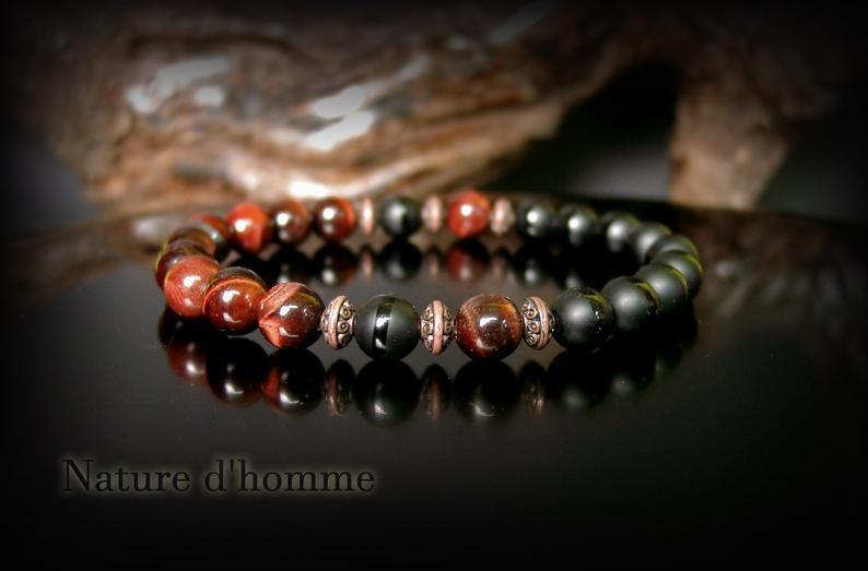 pas mal d3c7c 47592 Bijoux hommes - Un bracelet homme de carractère en pierres d ...