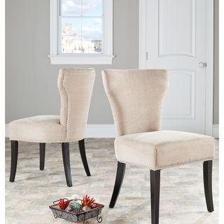 Safavieh Matty Wheat Polyester Nailhead Dining Chairs (Set Of 2)