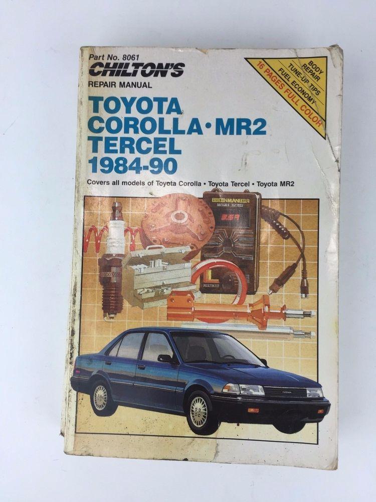 Toyota Corolla Mr2 Tercel 1984 To 1990 Chiltons Repair Shop Manual Paperback Toyota Corolla Toyota Corolla