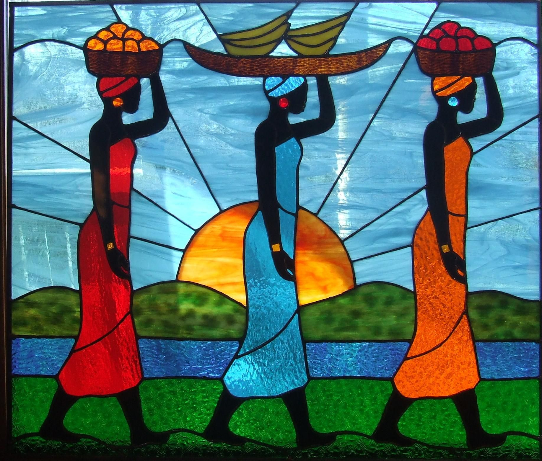 African Ladies Market - Delphi Artist Stained Glass Panels Painting