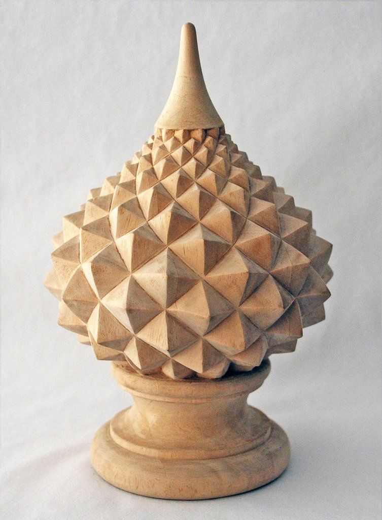 Hand carved wood finial available in virtually any size for Wooden finials for crafts