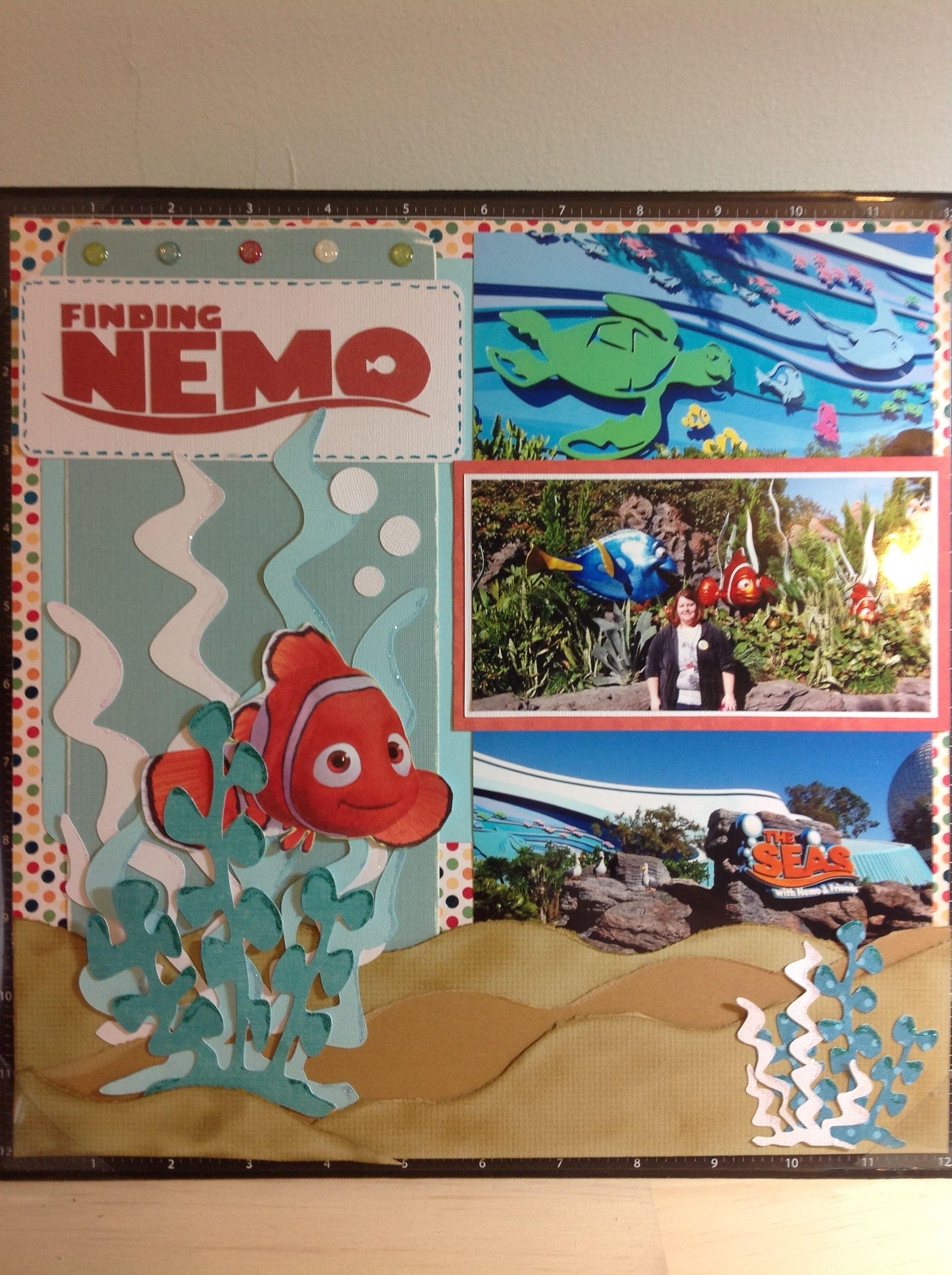 Scrapbook ideas no pictures - Nemo And Friends Epcot Scrapbook Page