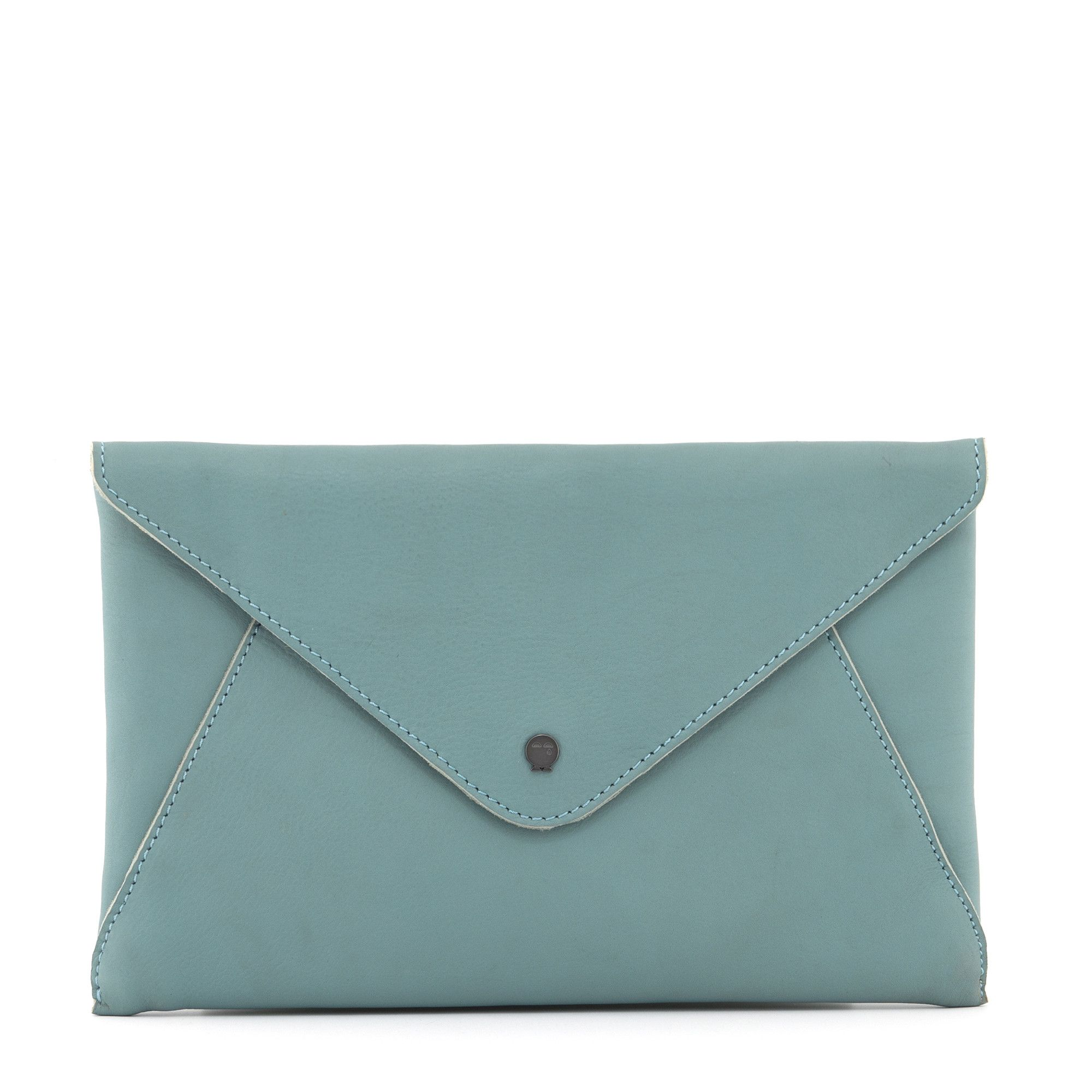 d3b23bb329b The Hepworth Duck Egg Blue Leather Envelope Clutch Bag by Yoshi ...