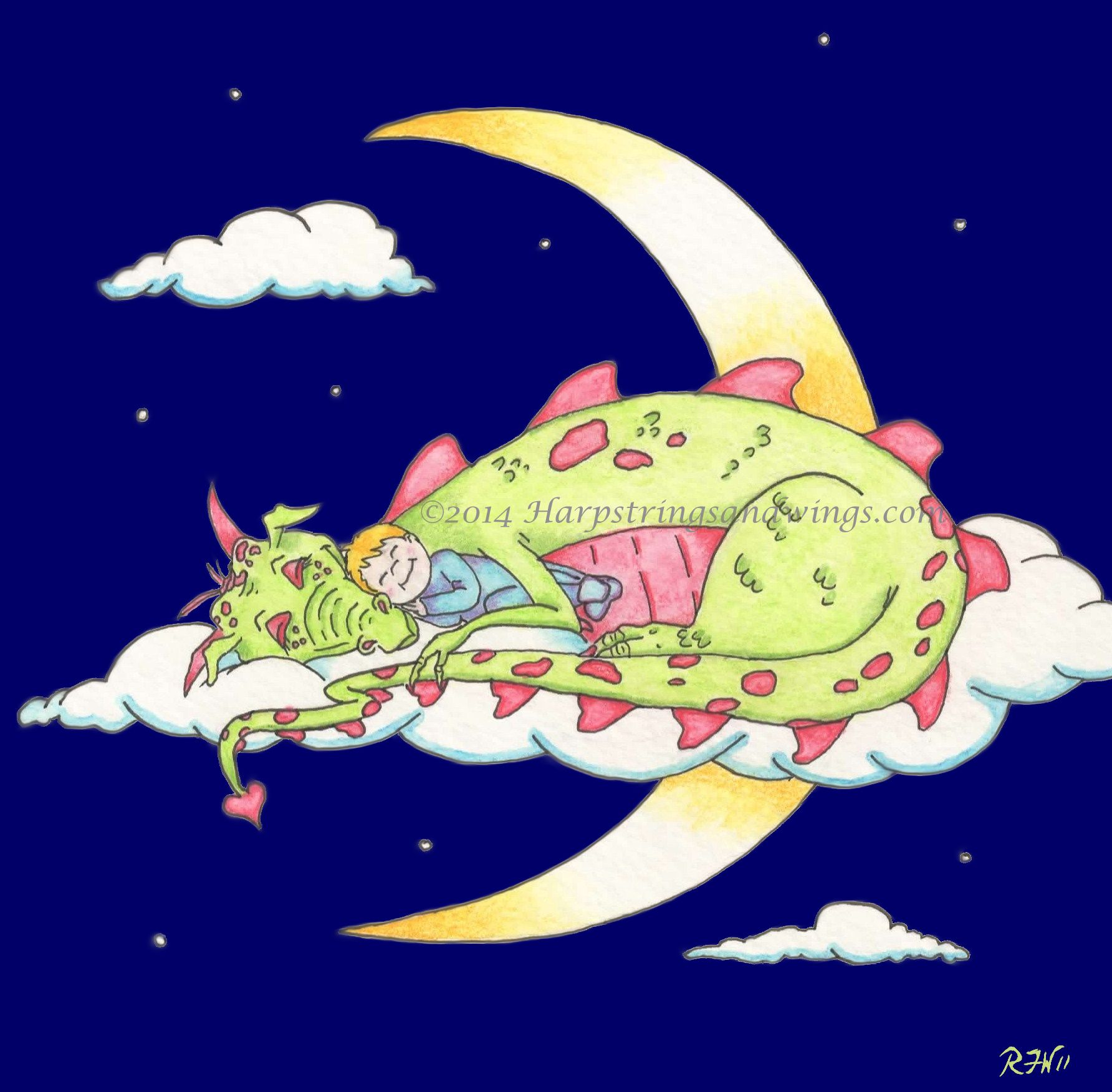 Sleeping Dragon - Colored Pencil/Digital Art (Children's Book Illustration)