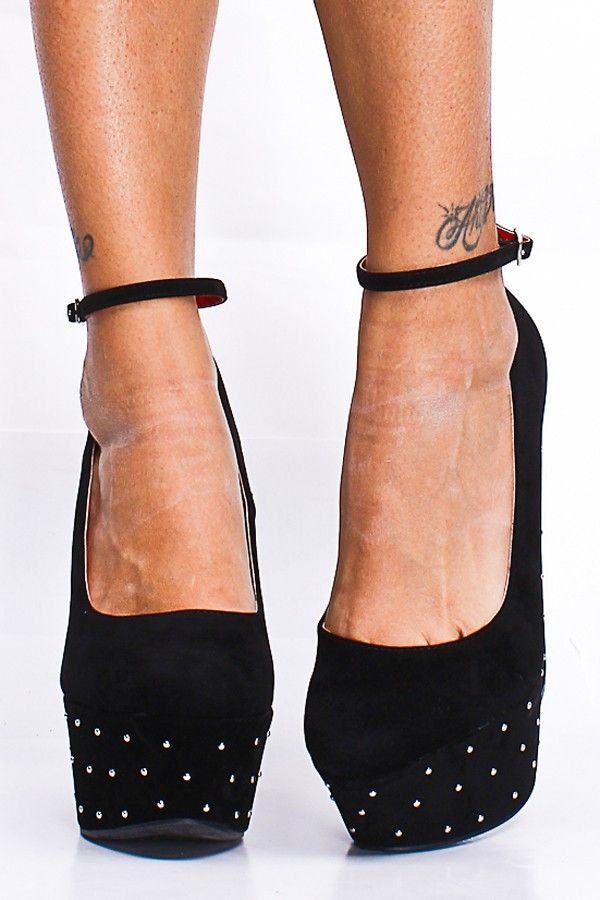 BLACK STUD ANKLE STRAP ROUND TOE PLATFORM WEDGES