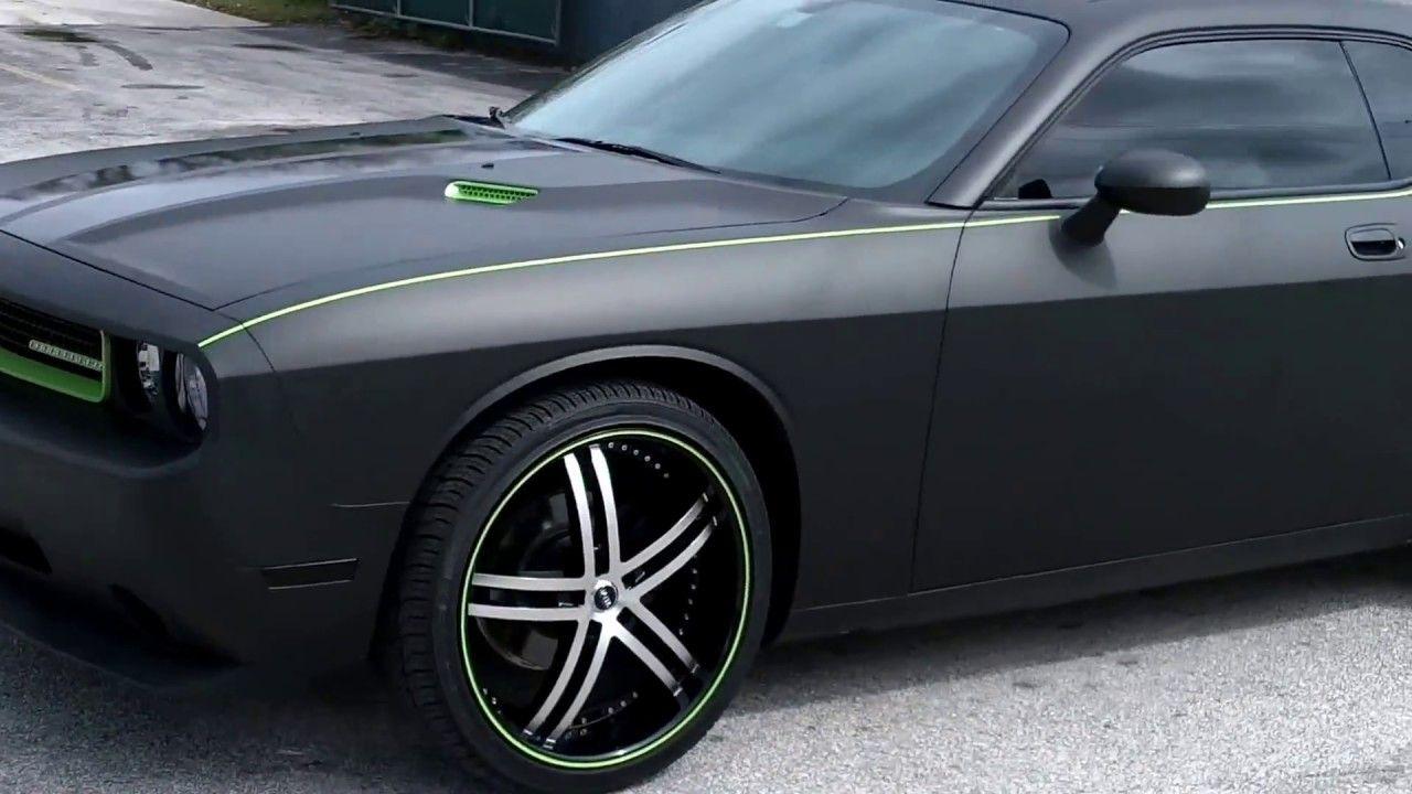 Dodge Challenger 3M Matte Black Car Wrap & Racing Stripes Miami ...