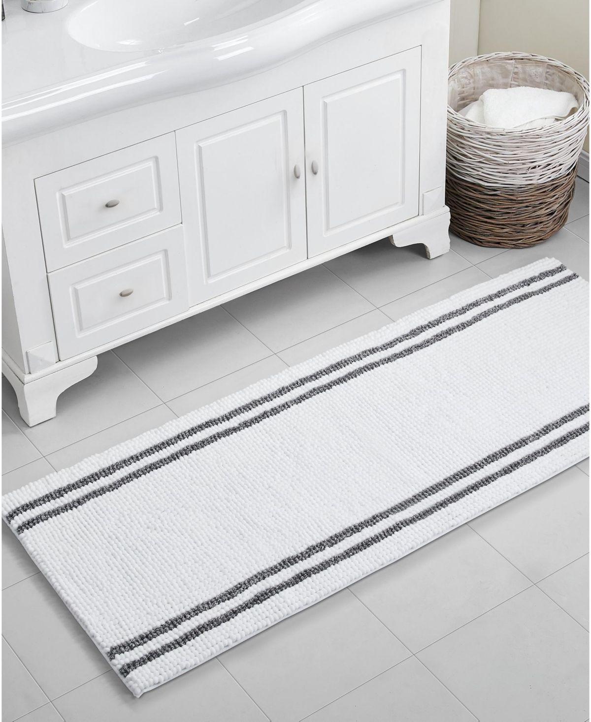 Vcny Home Stripe Noodle 24 X 60 Bath Rug White Bathroom Rug Bathroom Rugs Bath Rugs [ 1467 x 1200 Pixel ]
