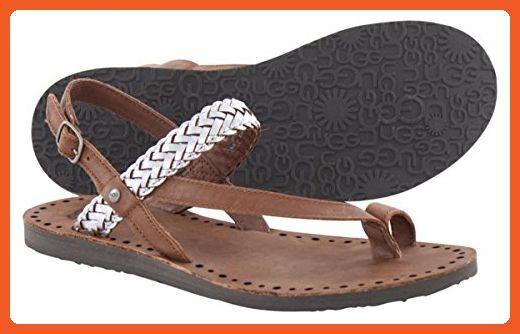 9830da842b7 UGG Women's Raee Silver Leather Sandal 10 B (M) - Sandals for women ...