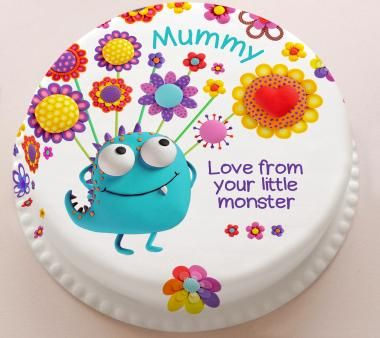 Personalised Cakes For All Occasions - Baker Days Personalised Little Monsters Mother's Day Cake with Flowers from £14.99